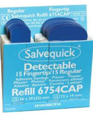 Salvequick plaster fingertipp blå 6754CAP 6pk