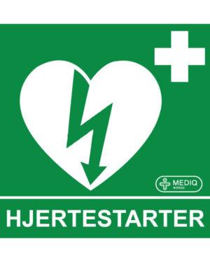 Skilt plast etterlysende hjertestarter 15x15cm
