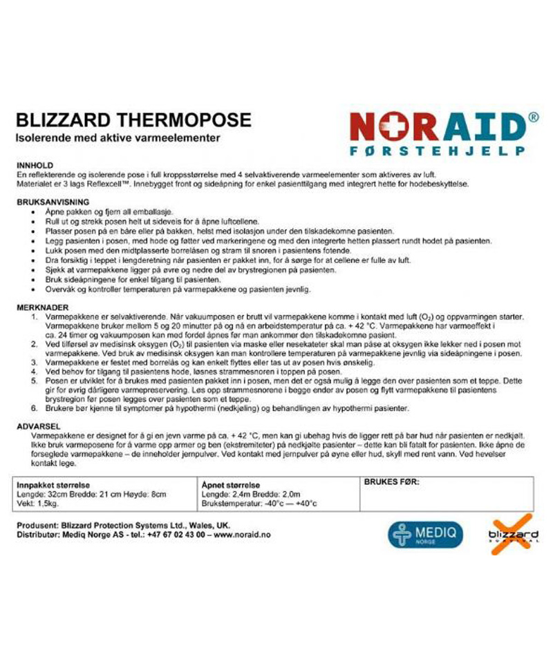 Blizzard Thermopose m/4 varmepakker